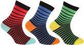 Universal Textiles Childrens Boys Cotton Rich Assorted Stripe Design Socks (Pack Of 3)