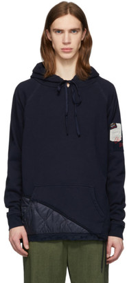 Greg Lauren Navy Paul and Shark Edition Panelled Hoodie