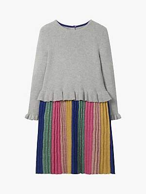 Boden Mini Girls' Sparkly Knitted Party Dress, Grey Marl Rainbow