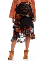 Gianni Bini Sophia Burnout Velvet Floral Tiered Ruffle Midi Skirt