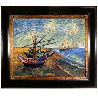 Overstock Art Fishing Boats on the Beach At Saintes-Maries by Vincent Van Gogh Framed Hand Painted Oil on Canvas