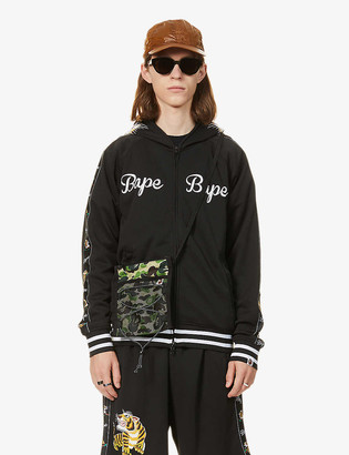 A Bathing Ape Logo and tiger-print jersey hoody