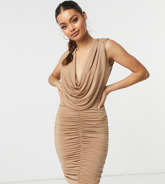 John Zack Petite cowl front ruched detail mini dress in camel