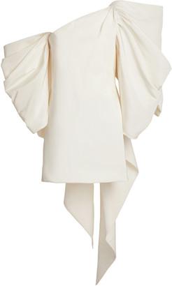 Carolina Herrera Bow-Embellished Silk-Faille Mini Dress