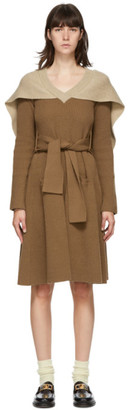 J.W.Anderson Tan Cape V-Neck Mid-Length Dress