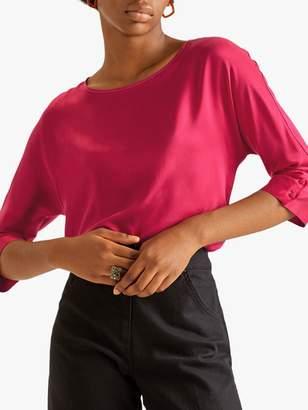 Jigsaw Silk Front Cuff Detail Blouse, Hot Pink
