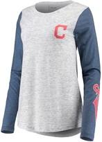 Unbranded Women's White/Navy Cleveland Indians Heathered Boyfriend Long Sleeve T-Shirt