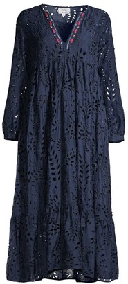 Johnny Was Vera Embroidered Eyelet Midi Dress