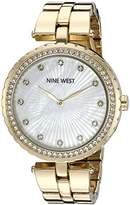 Nine West Women's NW/1740WMGB Swarovski Crystal Accented Gold-Tone Bracelet Watch