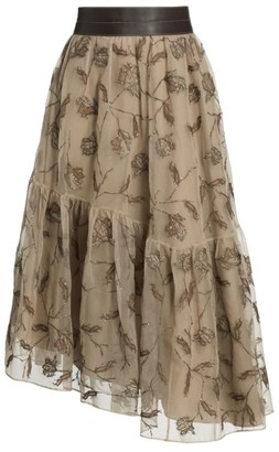 Brunello Cucinelli Asymmetric Monili Floral Silk Skirt
