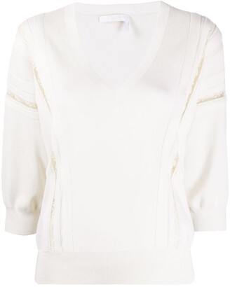 Chloé Lace-Trimmed Knitted Jumper