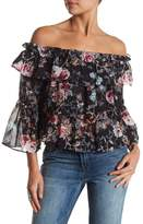 Know One Cares Floral Tiered Ruffle Off-the-Shoulder Blouse