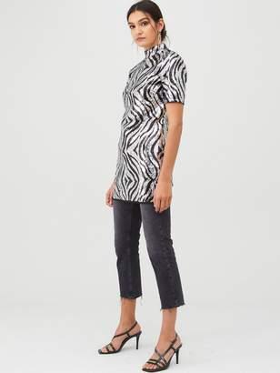 Very Longline Sequin Jersey Top - Black