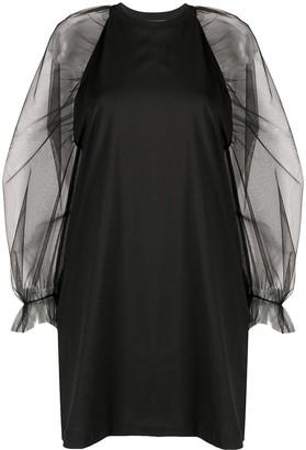 MSGM Sheer-Sleeved Cotton Dress