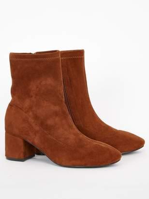 Evans Extra Wide Fit Block Heel Boot - Tan