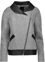 Marissa Webb Charlotte asymmetric leather-trimmed faux fur jacket