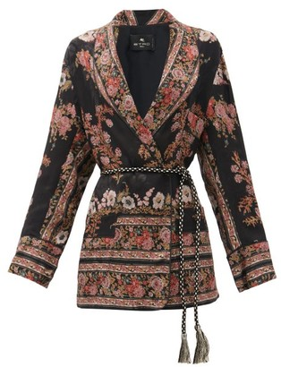 Etro Fleuve Belted Floral-jacquard Satin Jacket - Black Multi