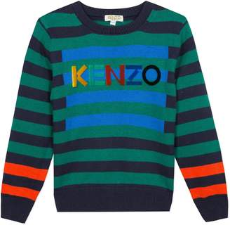 Kenzo Stripe Logo Cotton & Wool Sweater