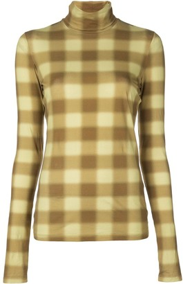 Proenza Schouler White Label Diffused Gingham Turtleneck Top