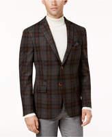 Tallia Men's Big & Tall Slim-Fit Gray/Orange Plaid Soft Sport Coat