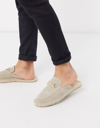 ASOS DESIGN slip on mule espadrilles in stone suede with snaffle