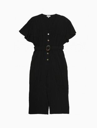 Calvin Klein Plus Size V-Neck Button-Front Belted Jumpsuit