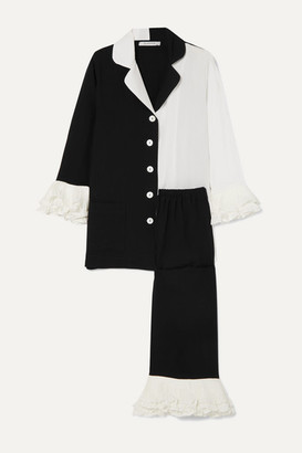 Sleeper Arlekino Ruffled Chiffon-trimmed Crepe De Chine Pajama Set - Black