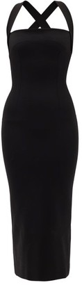Dolce & Gabbana Crossover-back Crepe-jersey Midi Dress - Womens - Black