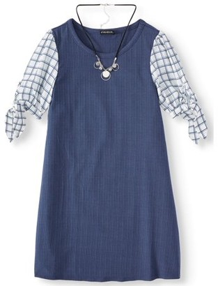 My Michelle Tie Sleeve Knit Dress with Necklace (Big Girls)