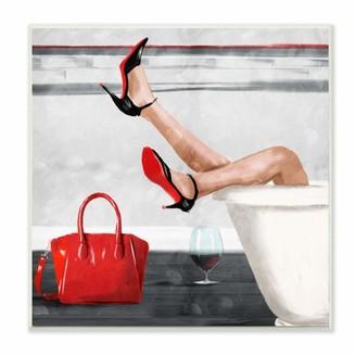 Stupell Industries Women's Fashion Bathroom Red Wine Heels Canvas Milli Villa Wall Art 30 x 30