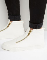 Asos Zip Sneakers in White Pyramid With Chunky Sole