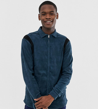 Asos Design DESIGN Tall regular fit zip through towelling shirt in navy
