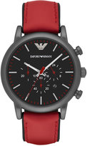 Emporio Armani Men's Chronograph Luigi Red Leather Strap Watch 46mm AR1971