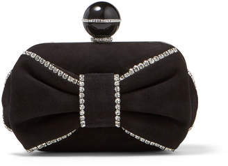 Jimmy Choo CLOUD Black Suede Clutch Bag with Crystal Embellishment