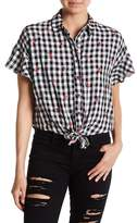 Love, Fire Front Tie Gingham Print Ruffle Sleeve Blouse