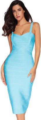 meilun Women's Celebrity Bandage Bodycon Dress Strap Party Pencil Dress - white - Large