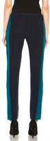 JONATHAN SIMKHAI Colorblock Silk Track Pant in Teal & Navy & Black