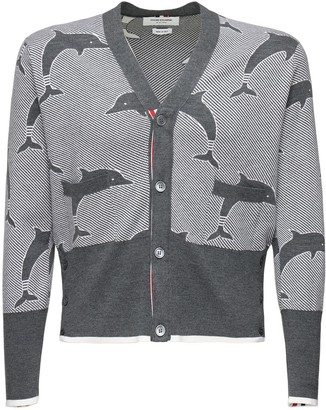 Thom Browne Wool Jacquard Knit Cardigan