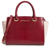 MICHAEL Michael Kors Medium Selma Embossed Leather Satchel - Red