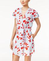 Oscar de la Renta Flutter-Sleeve Printed Wrap Robe