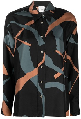 Alysi Graphic Button-Up Silk Shirt