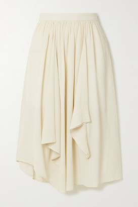 Isabel Marant - Darne Draped Cotton And Silk-blend Crepon Midi Skirt - Ecru