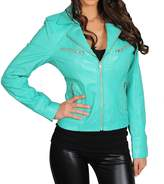House of Leather Womens Real Lambskin Leather Biker Style Fitted Casual Jacket Kim