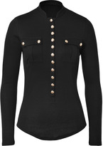 Balmain Cotton-Cashmere Top in Black