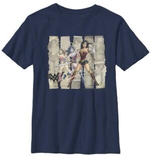 Fifth Sun Dc Comics Little and Big Boys Wonder Woman Paper Panels Short Sleeve T-Shirt