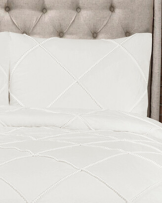 Triangle Home Fashion Diamond Pom Pom Comforter Set