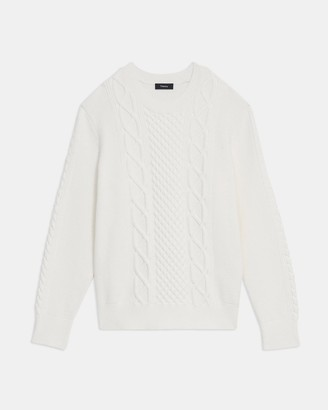 Theory Crewneck Sweater in Cable Knit Viscose