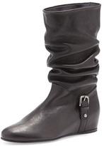 Stuart Weitzman Ruched Leather Hidden-Wedge Boot, Black