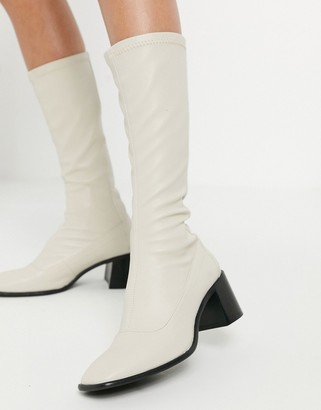 E8 by Miista Alisa high rise leather heeled stretch boots in white