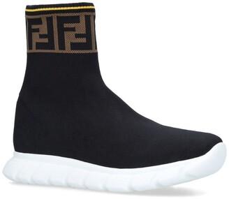 Fendi Kids Knit Logo Sock Sneakers